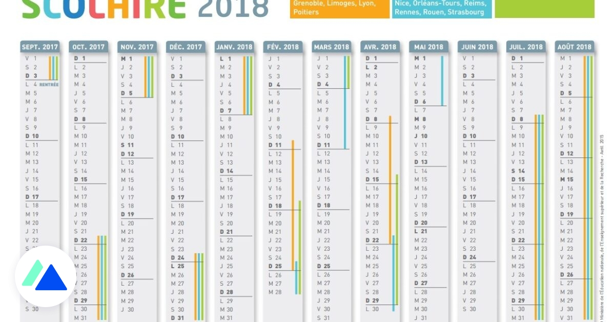 Calendrier 2018 Scolaire 2021 Zone A Le calendrier scolaire 2017 2018 à imprimer   BDM
