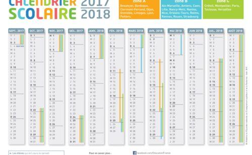 calendrier scolaire 2017-2018 imprimer