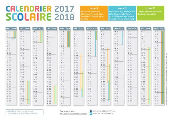 Calendrier Scolaire France.Le Calendrier Scolaire 2017 2018 A Imprimer Bdm