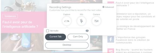outil faire capture vidéo navigateur d'un logiciel   Loom