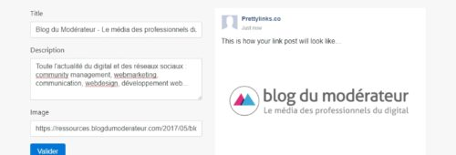 outil modifier l'aperçu d'un lien Facebook (titre  image  description)   Pretty Links