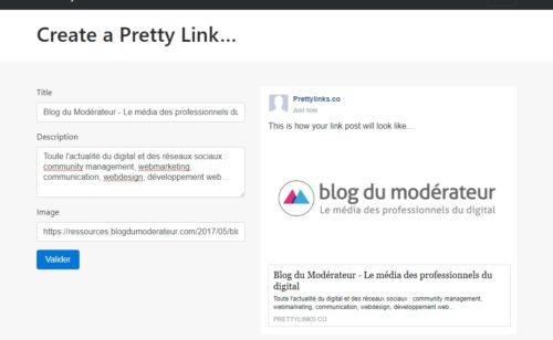 outil modifier l'aperçu d'un lien Facebook (titre  image  description)   Pretty Links