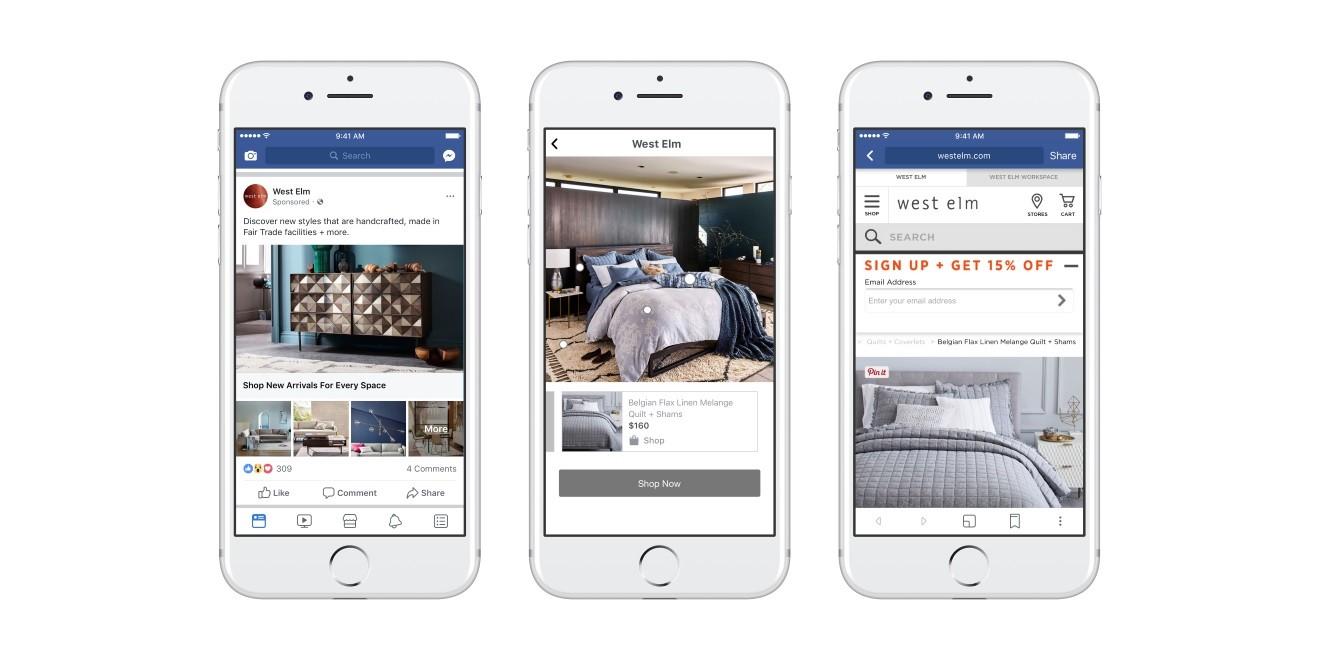 facebook lance un tout nouveau format publicitaire proche du catalogue traditionnel blog du. Black Bedroom Furniture Sets. Home Design Ideas