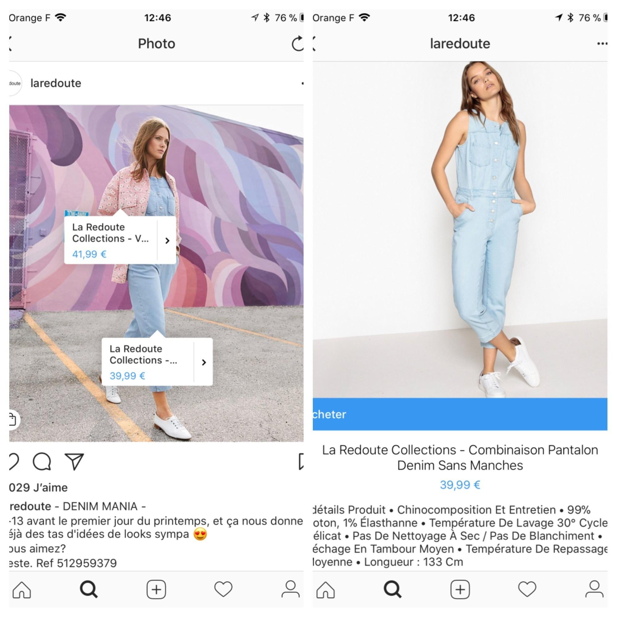 instagram d ploie le format shopping en france les marques peuvent identifier et vendre des. Black Bedroom Furniture Sets. Home Design Ideas