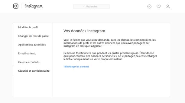 Instagram déploie un outil de téléchargement des données — RGPD