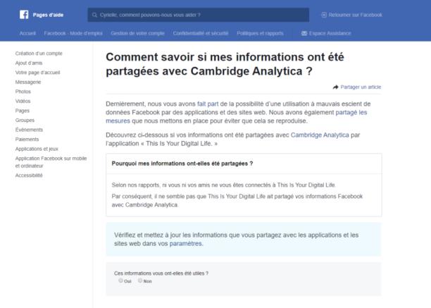 Facebook Vérifiez Si Vos Données Ont été Partagées Avec Cambridge