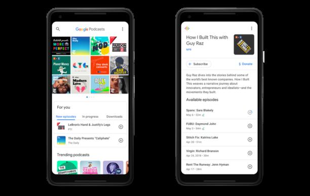 Interface de Google Podcast