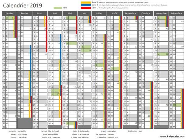 Calendrier 2019 Et 2021 Numero Semaine Calendrier 2019 à imprimer : jours fériés, vacances, numéros de