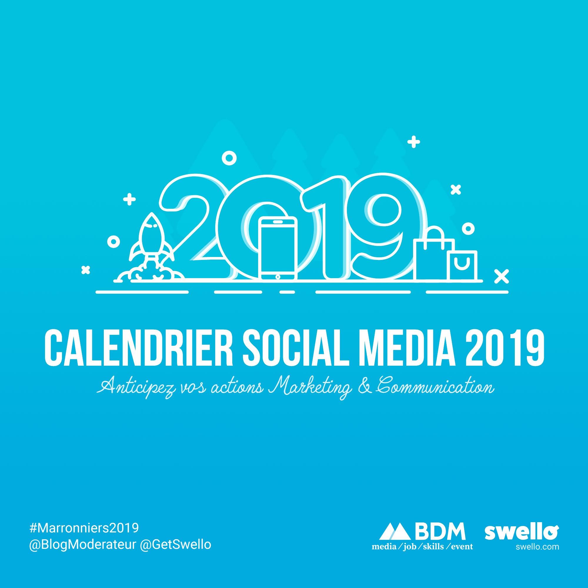 Calendrier marketing 2019 : la liste de tous les événements