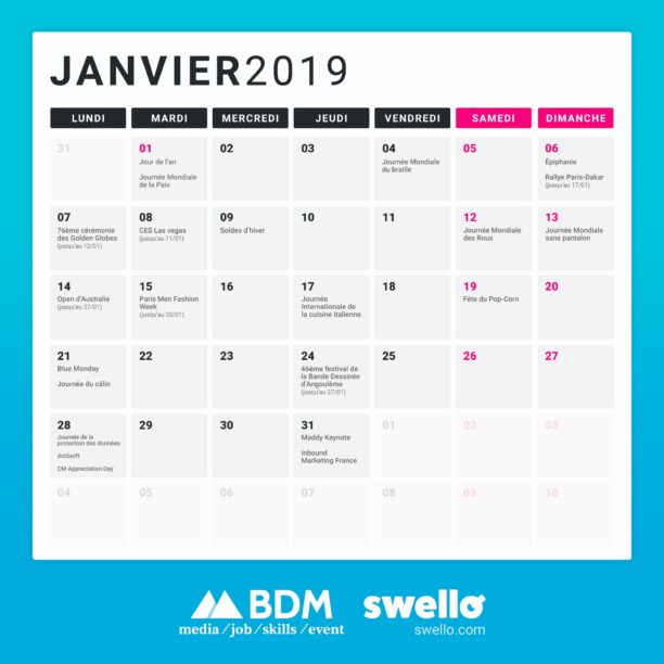 Calendrier Moi De Mai 2020.Calendrier Marketing 2019 La Liste De Tous Les Evenements