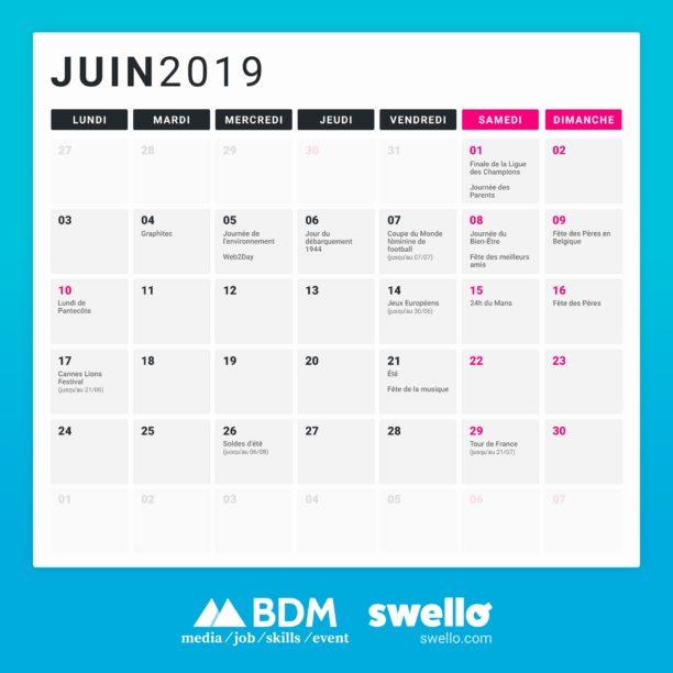 Calendrier Juin 2019 Lundi Au Vendredi Fashionsneakers Club