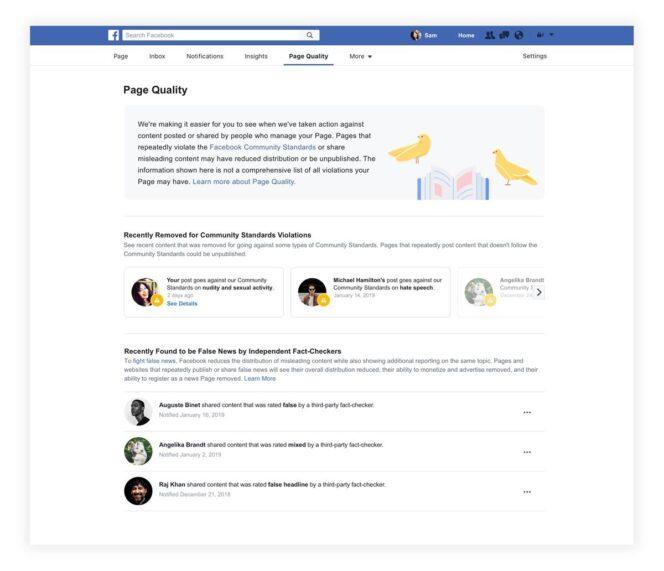 Facebook : un onglet Qualité sur les pages, pour visualiser les fake news et les contenus supprimés