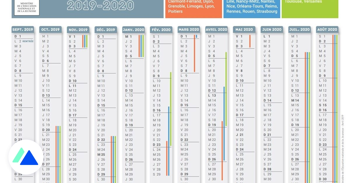 Calendrier Scolaire 2019 2020 Excel.Le Calendrier Scolaire 2019 2020 Avec Les Dates Des Vacances