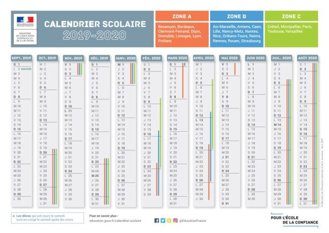 Calendrier Juillet 2020 A Imprimer Gratuit.Le Calendrier Scolaire 2019 2020 Avec Les Dates Des Vacances