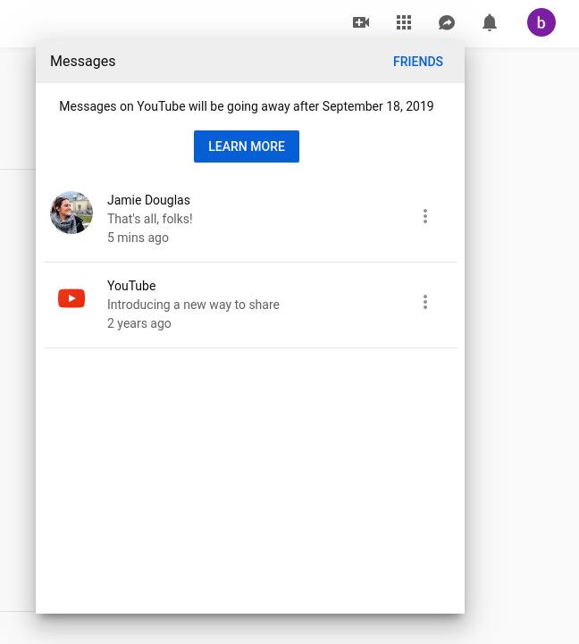 Les messages privés sur YouTube, c'est terminé