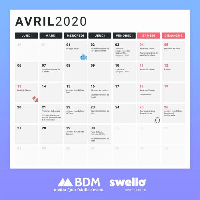 Calendrier marketing 2020 : la liste de tous les événements de l