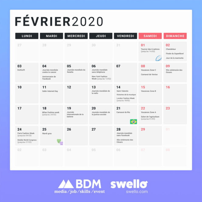 Calendrier Fevrier 2020.Calendrier Marketing 2020 La Liste De Tous Les Evenements
