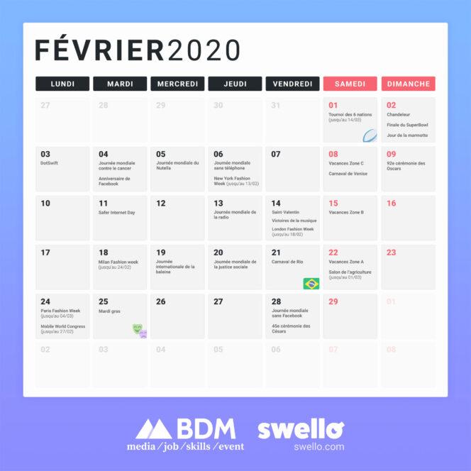 Calendrier Des événements 2021 Calendrier marketing 2020 : la liste de tous les événements de l