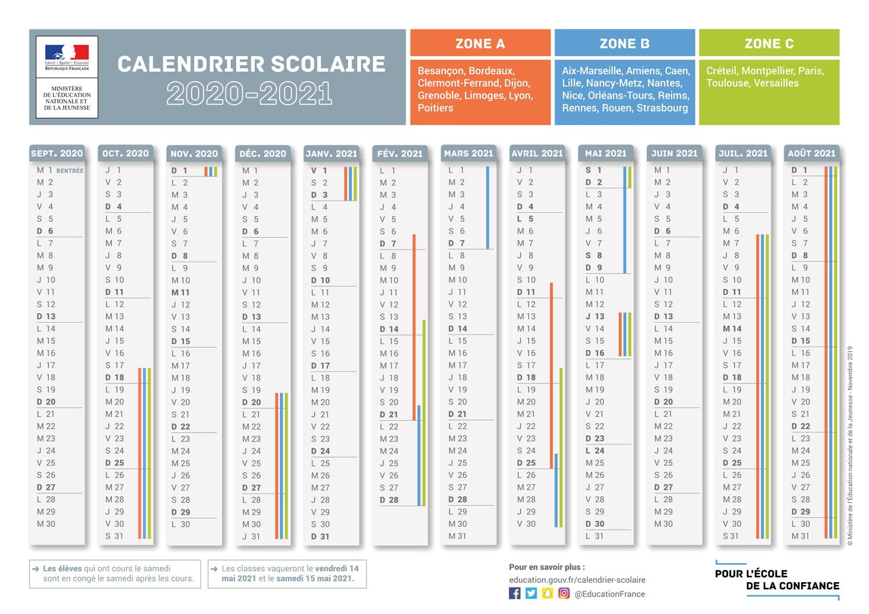 Le calendrier scolaire 2020 2021 avec les dates des vacances