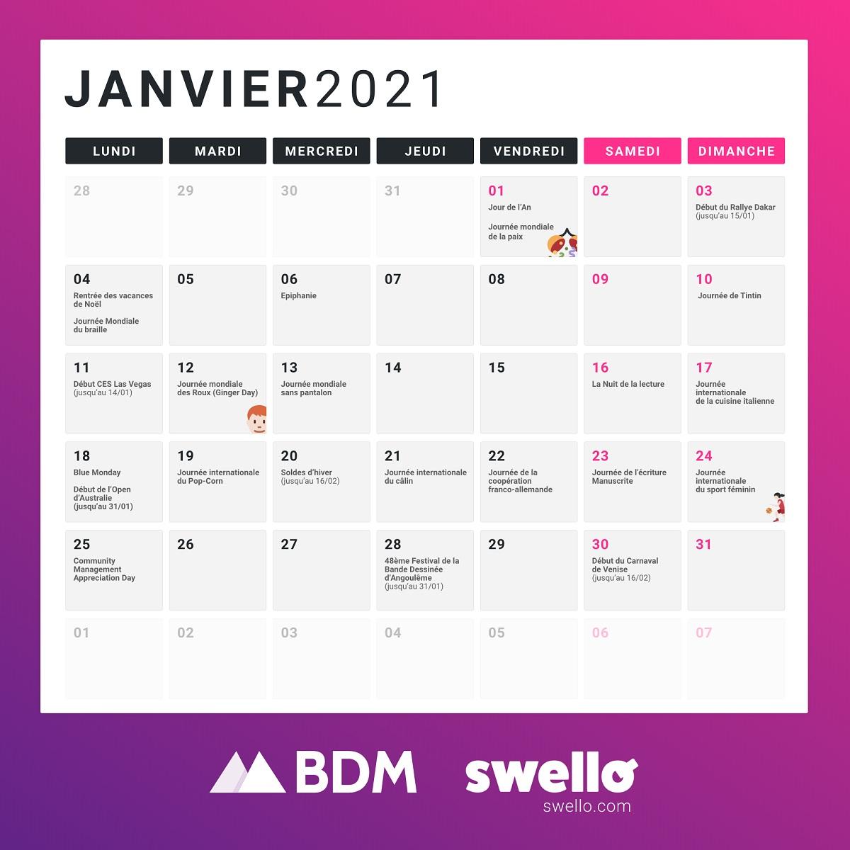 Calendrier Des événements 2022 Calendrier marketing 2021 : la liste de tous les événements de l