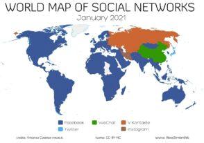 La carte des réseaux sociaux les plus populaires en 2021
