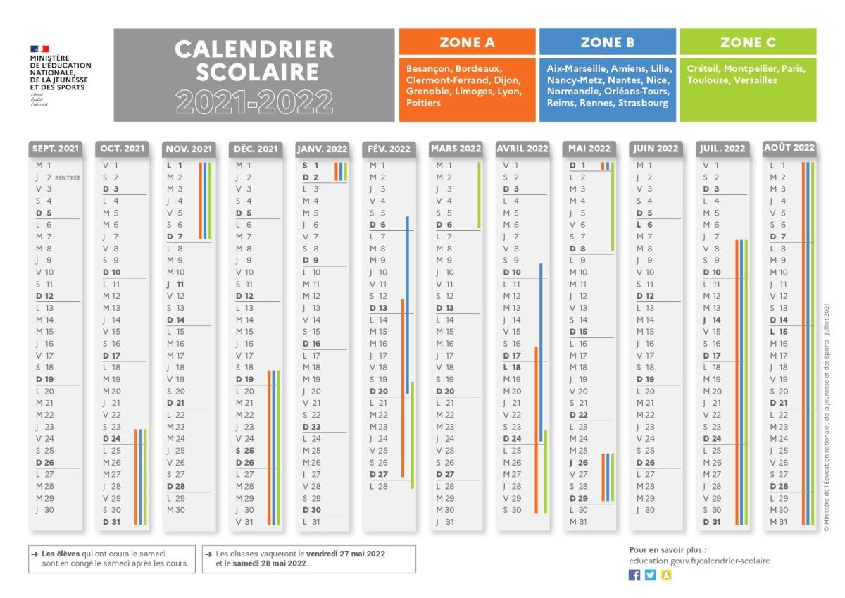 Calendrier 2018 Scolaire 2022 Paris Calendrier scolaire 2021 2022 avec les dates des vacances