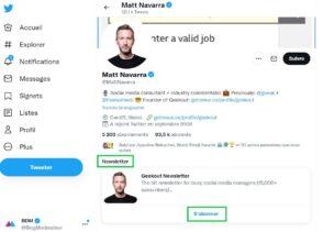 Twitter : un bouton d'inscription à la newsletter directement sur les profils